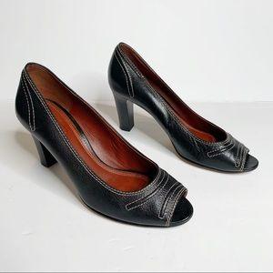 Coach Black Celeste Peep Toe Heel Size 8.5B
